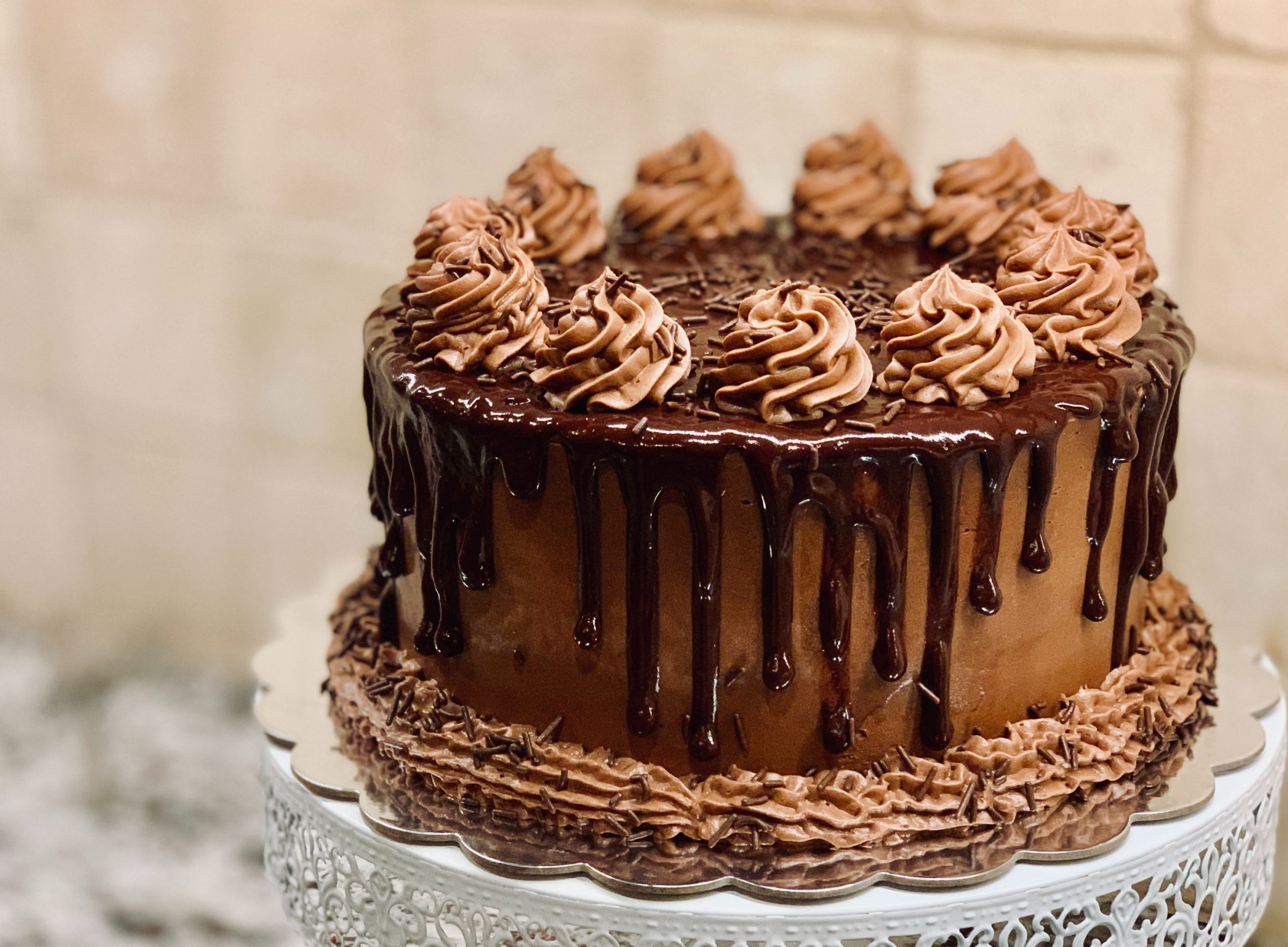 Chocolate Cake, Flowers, Dessert, Blue, Brown, Party, 2020, JanuaryIf you would like to taste this delicious hand made cake or send one to a friend, just shoot an email to julieyarden@gmail.com.