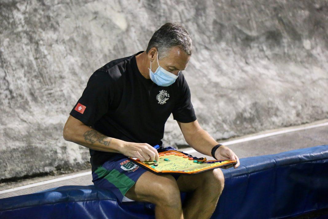 Coach preparing for team talk
